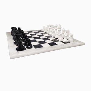 Handmade Italian Volterra Alabaster Chess Set, 1970s, Set of 33