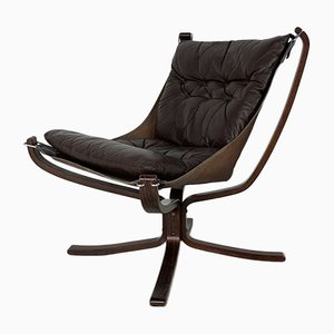Vintage Brown Falcon Chair by Sigurd Resell for Vatne Møbler