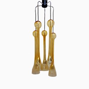 Lámpara de araña con 5 lámparas de cristal de Murano