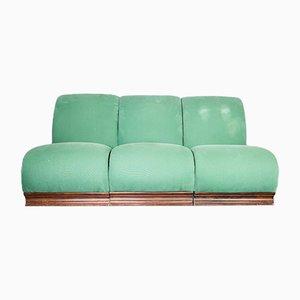 Vintage Wood & Fabric Modular Chairs, Set of 3