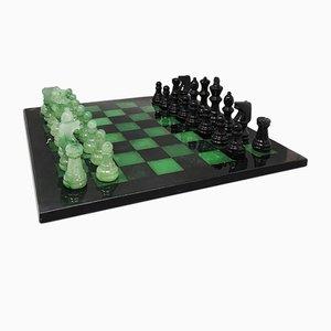Italian Handmade Black & Green Volterra Alabaster Chess Set, 1970s, Set of 33