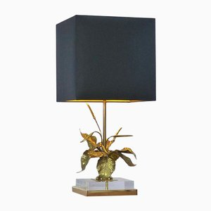 Brass Gold Table Lamp with Foliage