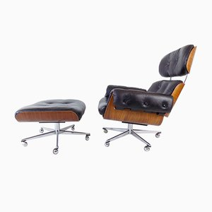 Leather Chair & Ottoman by Martin Stoll, Set of 2