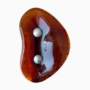 Mid-Century French Amber Glass Door Handle