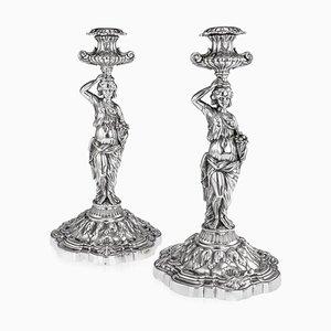 Französische Figurale Kerzenständer aus massivem Silber, 19. Jh., 1880er, 2er Set