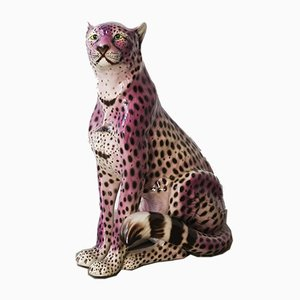 Portuguese Purple Ceramic Leopard Sculpture, 1970s