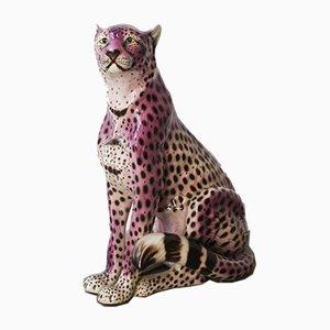 Sculpture Leopard Violet en Céramique, Portugal, 1970s
