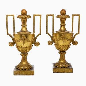 Große Goldene Empire Vasen mit Griffen, 2er Set