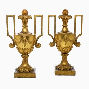 Large Empire Golden Vases with Handles, Set of 2