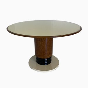Italian Art Deco Ivory Glass Pedestal Table, 1930s