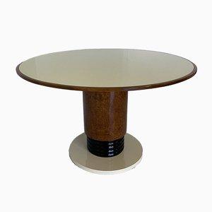 Italienischer Art Deco Tisch aus elfenbeinfarbigem Glas, 1930er