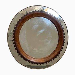 Specchio in ottone e legno di ciliegio