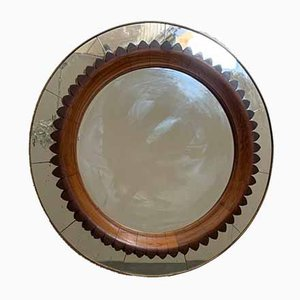 Brass and Cherry Wood Mirror