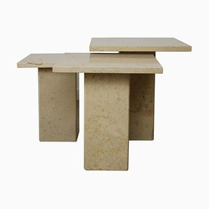 Nesting Tables in Burgundy Stone, Set of 3