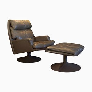 Swivel Leather Chair with Ottoman from Leolux, 1960s, Set of 2