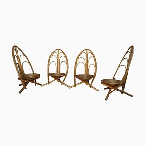 Rattan and Wooden Chairs, Set of 4