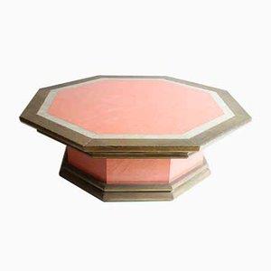 Mesa Hollywood Regency de latón y rosa con perlas sintéticas de Rodolfo Dubarry, años 70