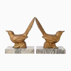 Französische Art Deco Vogel Buchstützen, 1930er, 2er Set