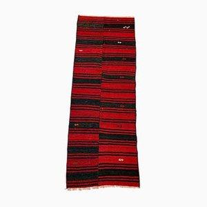 Alfombra Kilim Runner turca antigua en rojo y negro