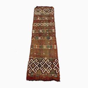 Alfombra Kilim Runner turca antigua en rojo y marrón