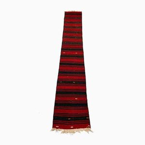 Alfombra Kilim Runner turca vintage en rojo y negro