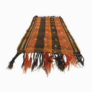 Alfombra Kilim Run Turca vintage marrón de terracota