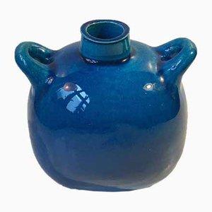 Jarrón de cerámica en turquesa de Nils A. Kähler para Kähler, años 70