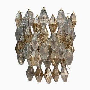 Apliques Mid-Century grandes de cristal de Murano de Poliedri. Juego de 2