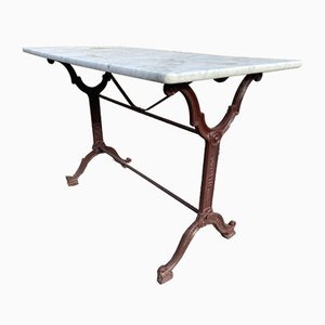 Antique Cast Iron and Marble Bistro Table, 1900s