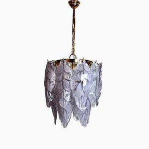 Lámpara de araña italiana de cristal de Murano lila de Mazzega, años 70