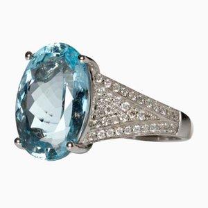 Aquamarine and Diamond 18k Ring