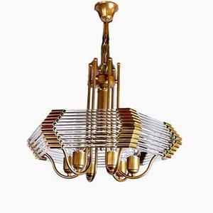 Lámpara de araña italiana de cristal de Murano de Paolo Venini, años 70