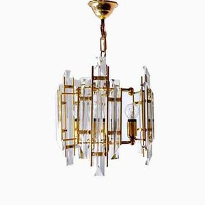 Lámpara de araña italiana de cristal de Murano de Venini, años 70