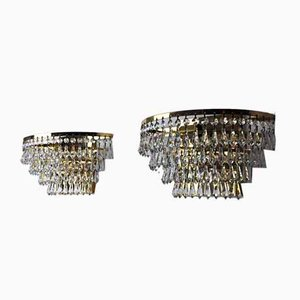 Spanish Regency Crystal Sconces,1980, Set of 2