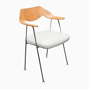 Mid-Century English White Leather & Oak 675 Chair by Robin Day for Hille