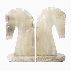 Vintage Onyx Horse Head Bookends, 1970s, Set of 2