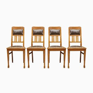 Austrian Art Nouveau Dining Chairs, Set of 4