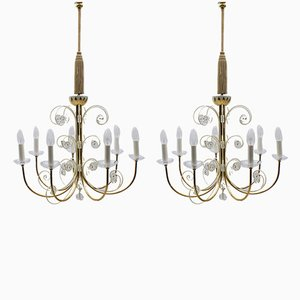 Large Mid-Century Brass Chandeliers with 7 Arms from Vereinigten Werkstätten, 1960s, Germany, Set of 2