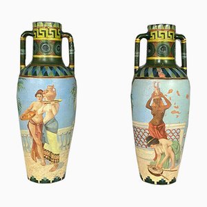 Terracotta Amphorae Vessels with Egyptian Scenes, Set of 2