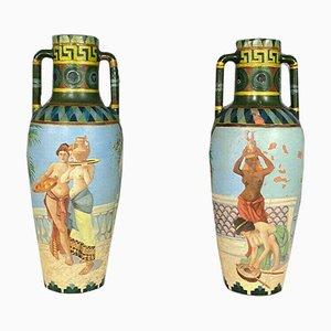 Terrakotta Amphoren Gefäße mit Ägyptischen Szenen, 2er Set