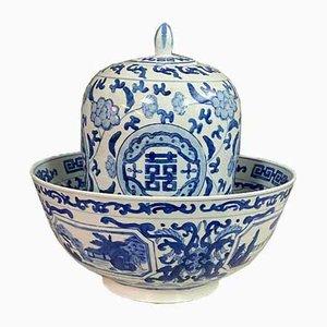 Große Asiatische Tasse in Blau & Weiß, 2er Set