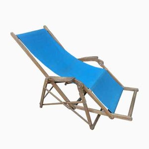 Beech and Blue Canvas Garden Deck Chair, 1950s