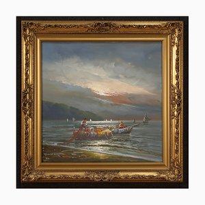 Seelandschaft aus dem 20. Jahrhundert, Fischer bei Sonnenuntergang