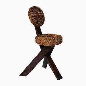 Beistellstuhl aus Holz & Geflecht von Adrien Audoux & Frida Minet, 1960er