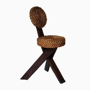 Wood and Rush Side Chair by Adrien Audoux & Frida Minet, 1960s