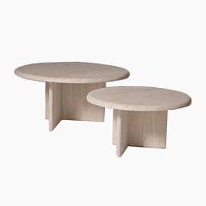 Round Travertine Side Tables, Set of 2