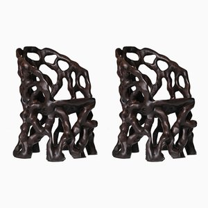 Sculptural Carved Wooden Root Chairs, Set of 2