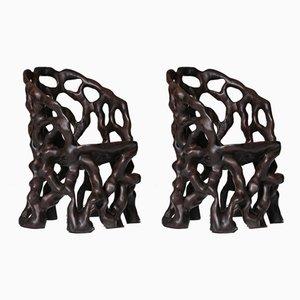 Sedie in legno intagliato scultoreo, set di 2