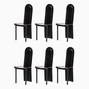 Metal Framed Italian Leather High Back Dining Chairs, 1990s, Set of 6