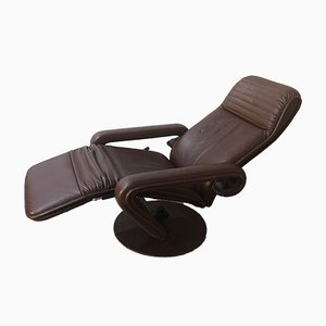 Vintage Scandinavian Style Leather Reclining Lounge Chair, 1970s